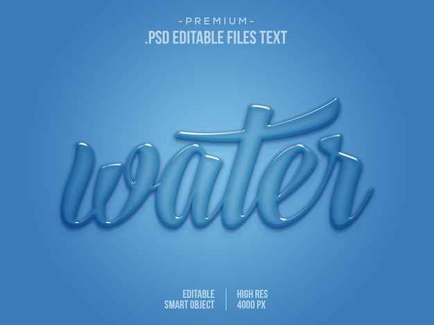 Water bewerkbaar teksteffect, water 3d teksteffect, blauw vloeibaar druppelwater aqua teksteffect