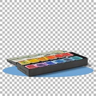 Water kleur verf in zwarte doos geïsoleerd