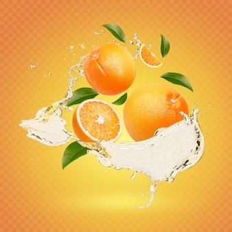 Water spatten op verse sinaasappel met geïsoleerde bladeren