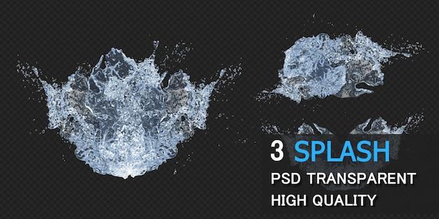 Water splash met druppels in 3d-rendering geïsoleerd