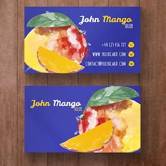 Watercolor mango visitekaartje sjabloon