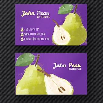 Watercolor pear visitekaartje sjabloon