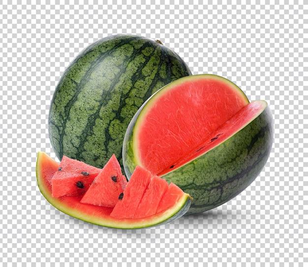 Watermeloen en plakje watermrlon geïsoleerd premium psd
