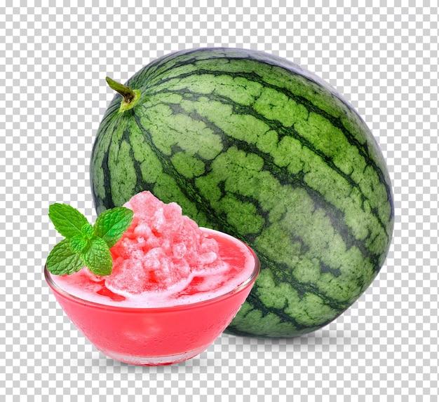 Watermeloen sap met muntblaadjes geïsoleerd.
