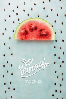 Watermeloenplak en zaden regenmodel