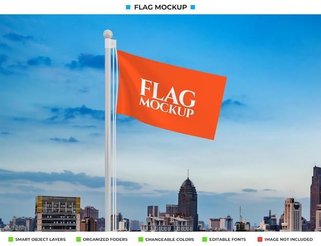 Wave vlag mockup ontwerpweergave