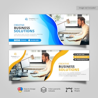 Waves corporate business facebook portada banner
