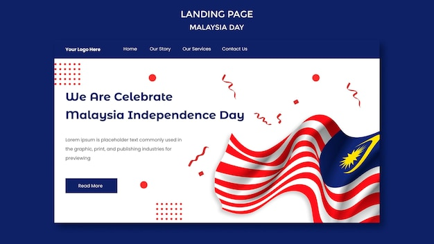 We vieren de sjabloon voor de bestemmingspagina van de onafhankelijkheidsdag in maleisië