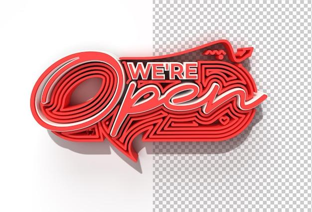 We zijn open/close kalligrafische 3d transparante psd-bestand.
