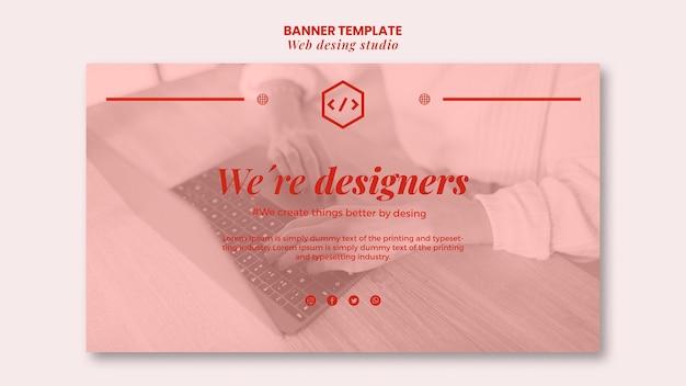 Web studio ontwerpsjabloon voor spandoek