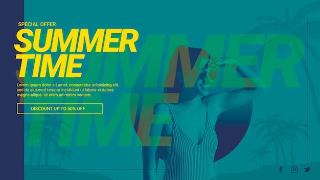 Webbanner sjabloon met zomer concept