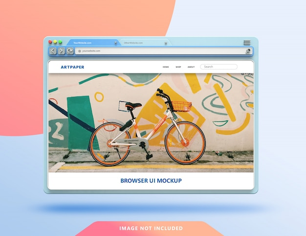 Webbrowser ui 3d-mockup met pastelkleur