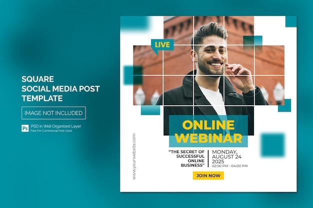Webinar en línea publicación de redes sociales o plantilla de banner cuadrado