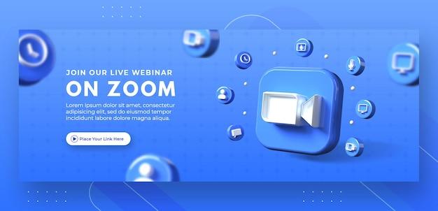 Webinar-paginapromotie met 3d-render zoomlogo voor facebook-omslagsjabloon