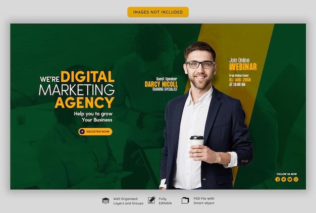 Webinar en vivo de marketing digital y plantilla de banner web corporativo