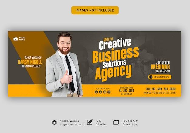 Webinar en vivo de marketing digital y plantilla de portada corporativa de facebook