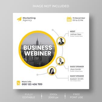 Webinar en vivo de redes sociales corporativas de marketing digital y plantilla de publicación de instagram