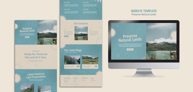 Webpagina voor natuurbehoud met landschap