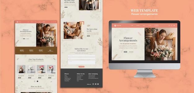 Webpagina voor winkel met bloemenarrangementen