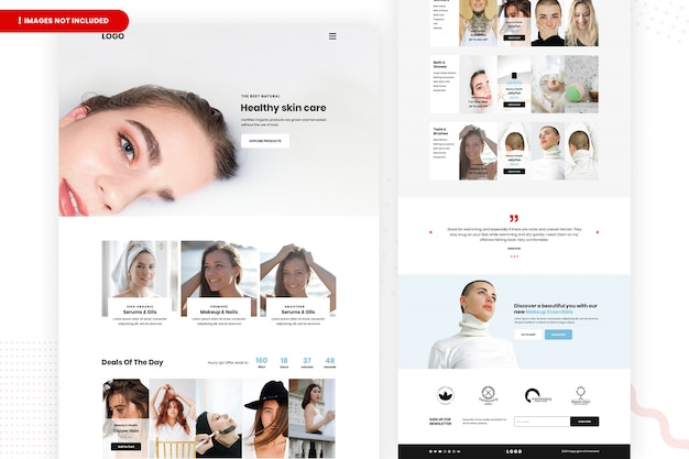 Website-pagina over gezonde huidverzorging