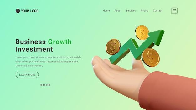 Website van de bestemmingspagina voor bedrijfsinvesteringen met 3d-grafiek en dollarmuntconcept
