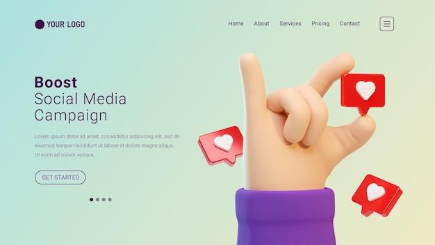 Website van de bestemmingspagina voor sociale media-campagnes met 3d-handgebaar en liefdespictogrammen
