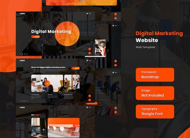 Website voor digitale marketing en seo-services in donkere versie