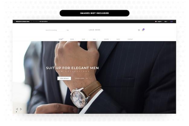 Website voor herenzomerkleding landingspagina, startpagina, koptekst, schuifregelaar