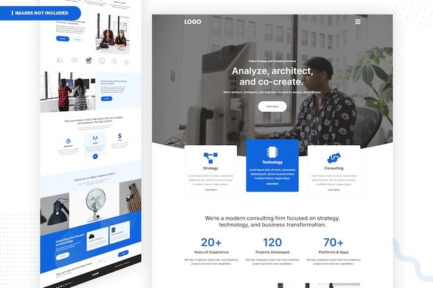 Websitepagina voor online strategie en adviesdiensten