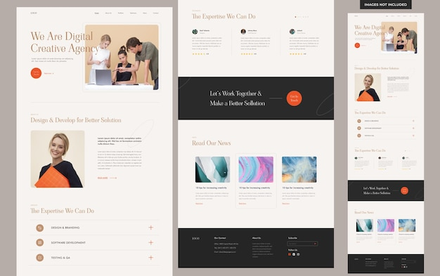 Websitesjabloon voor esthetisch creatief bureau