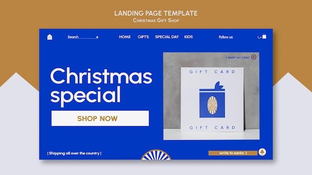 Websjabloon voor blauwe en gouden cadeauwinkel