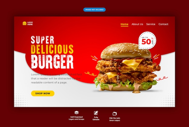 Websjabloon voor fastfood-hamburger