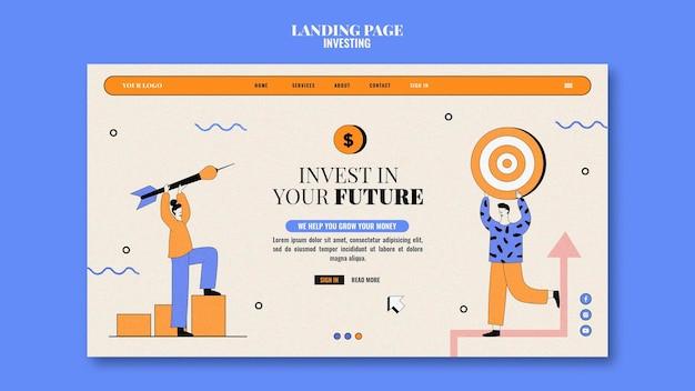 Websjabloon voor investeringen geïllustreerd