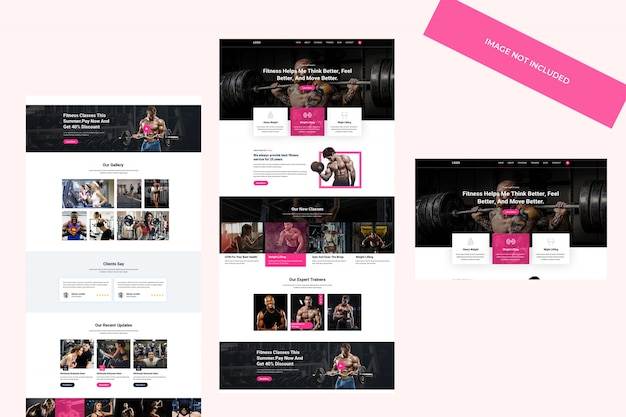 Webthemaontwerp, psd-sjabloon. fitness en sportschool concept.