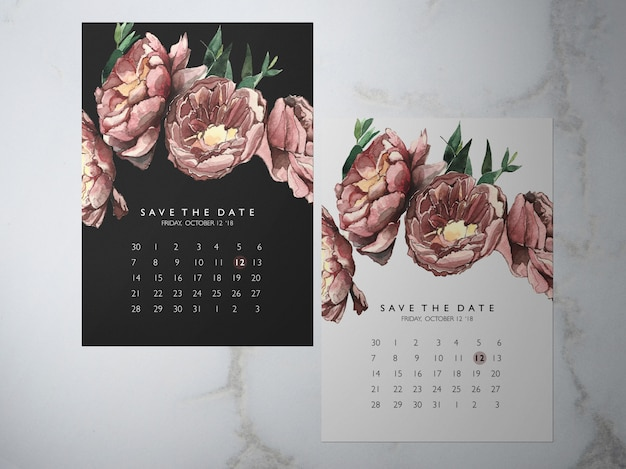 Wedding save the date, one faced flower red peony themakaart