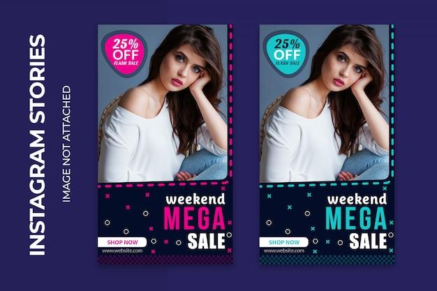 Weekend mega verkoop sociale webbanners premium