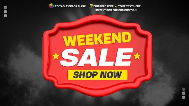 Weekend verkoop 3d tekstelement met winkel nu in 3d-rendering