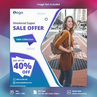 Weekend verkoop sociale media sjabloon voor spandoek