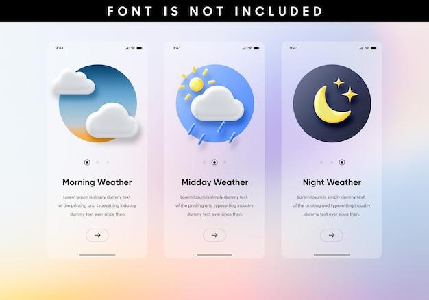 Weer illustraties app-sjabloon