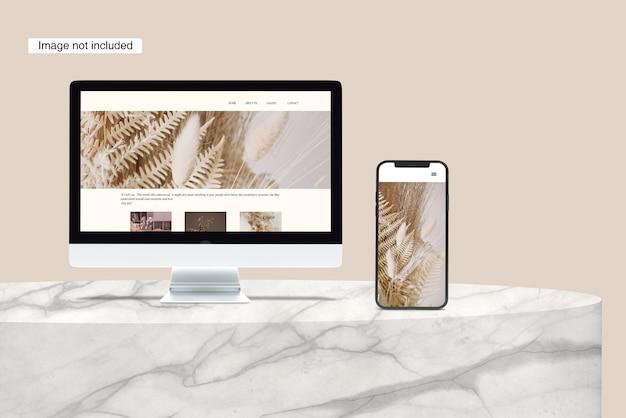 Weergave van desktop en smartphone mockup
