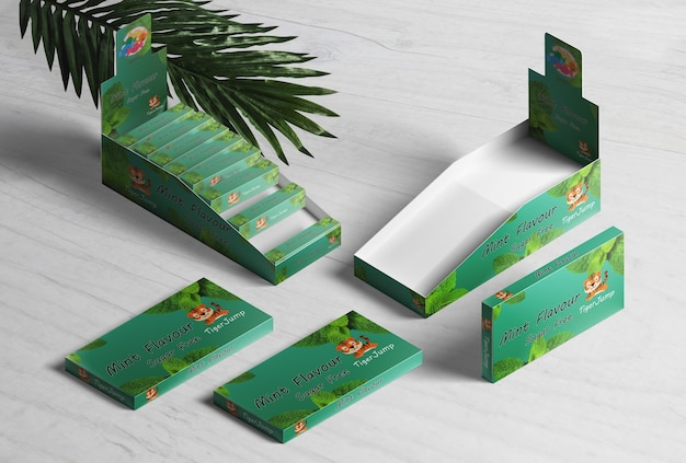 Weergave van dozen van muntgom op hout
