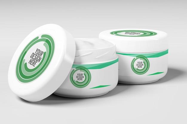 Weergave van een cream container mockup