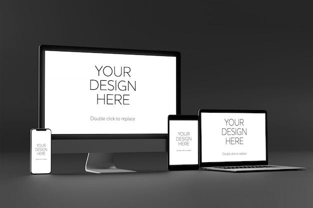 Weergave van een desktop, laptop, smartphone en tabletmodel