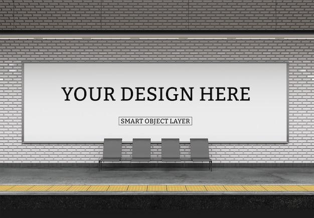 Weergave van een subway billboard mockup