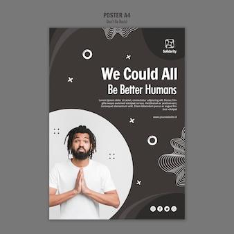Wees geen racistisch concept poster sjabloon