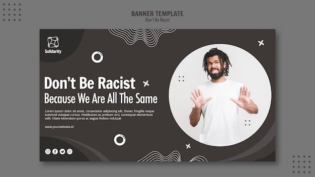 Wees geen racistisch conceptbannermalplaatje