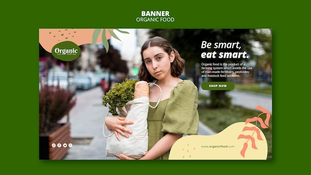 Wees slim eet slimme banner websjabloon