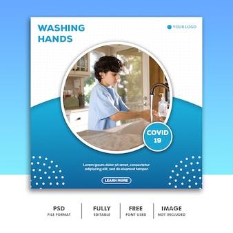 Wees voorzichtig social media post-sjabloon instagram, jongen handen wassen