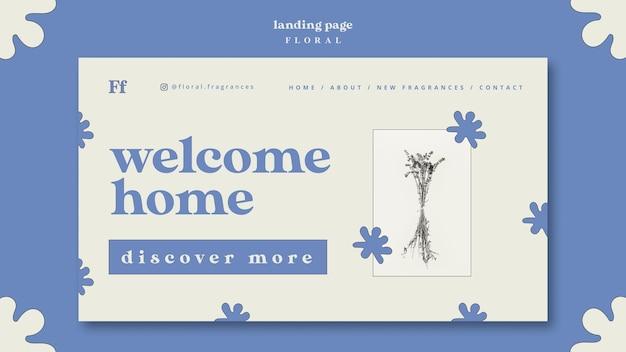 Welkom thuis bestemmingspagina met bloemen