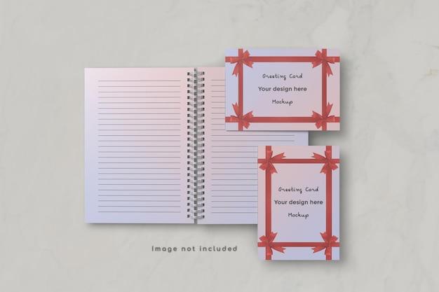Wenskaart en notebook mockup